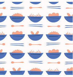 asian food soup bowl pattern blue orange vector image