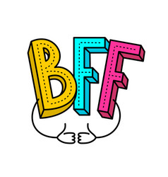 bff - best friends forever colorful logo with two vector image