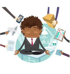 black business man sitting calm on table vector image