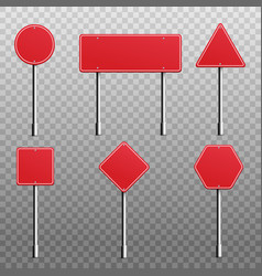 blank red road sign or street signboard set vector image