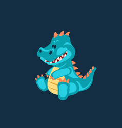 blue baby dinosaur toy cartoon design vector image