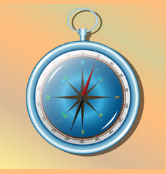 blue compass for traveler on yellow background vector image