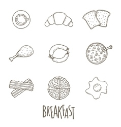 Breakfest hand drawn icon set over white vector