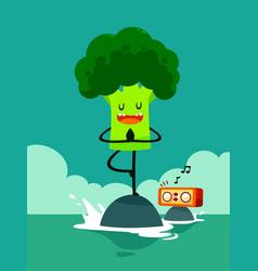 broccoli do yoga tree pose vector image