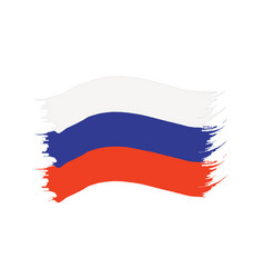 brushstroke painted flag russia vector image