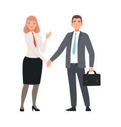 Business partners handshaking character vector
