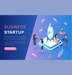 business startup people with rocket on pedestal vector image