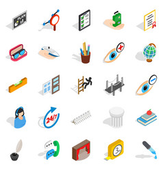 Business trip icons set isometric style vector