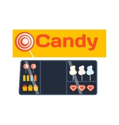 Candy shop showcase vector image