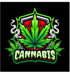 Cannabis mascot logo design vector