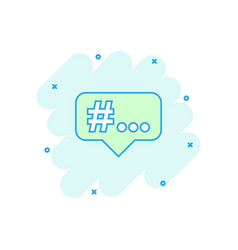 Cartoon hashtag icon in comic style social media vector
