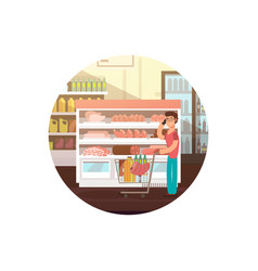cartoon man in food store or supermarket vector image
