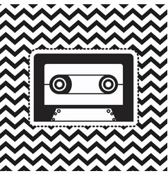 cassette sticker on pop art zig zag linear vector image