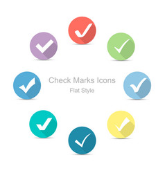 check marks icons in flat style set of check vector image