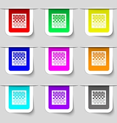 Checkers board icon sign Set of multicolored vector