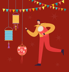 Chinese lunar new year carnival people drummer vector