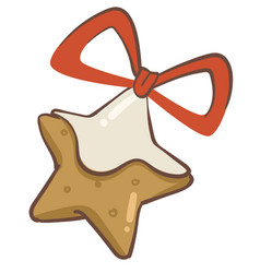 christmas gingerbread cookie with red ribbon bow vector image