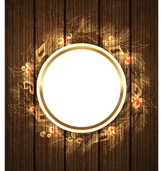 Christmas wreath and round banner vector