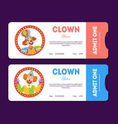 Clown show tickets set circus cards templates vector