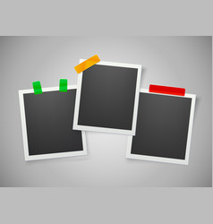 collection blank photo frames with adhesive vector image