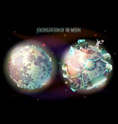 Colonization of moon concept vector