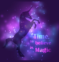 colorful unicorn silhouette with magic lights vector image