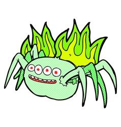 Comic cartoon spooky spider vector