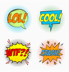 comic speech bubbles - lol cool wtf crash vector image