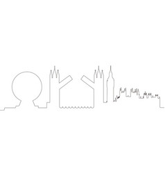 continous line skyline of london vector image