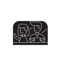 Couple driving away black concept icon vector