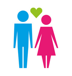 couple together with love heart pictogram vector image