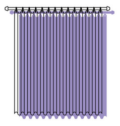 Curtain of room holding in a pole purple vector