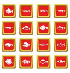 Cute fish icons set red vector