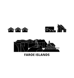 denmark faroe islands flat travel skyline set vector image
