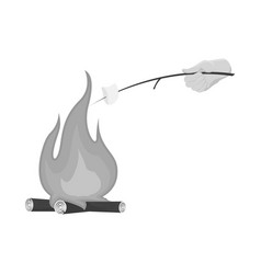 design campfire and marshmallow sign vector image