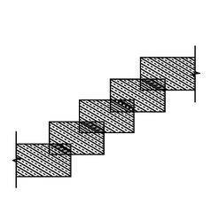 Diagram of rectangular stone stairs vector
