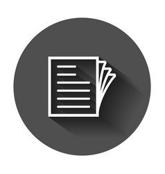 Document note icon in flat style paper sheet vector