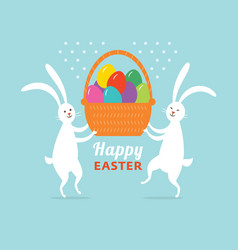 easter scene bunnies and big basket with eggs vector image
