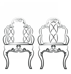 Elegant Leather quilted chairs with ornaments vector image