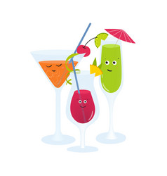 exotic cocktails in glasses with cute happy faces vector image