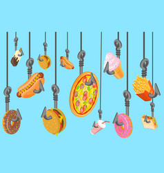 fast food addiction and harmful effects junk food vector image