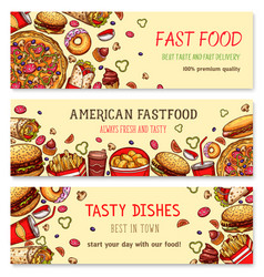 Fast food banners set for restaurant vector