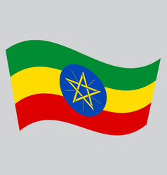 Flag of ethiopia waving on gray background vector