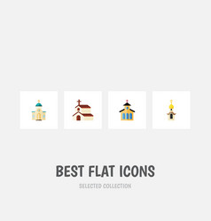 Flat icon building set of religion catholic vector