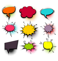 Funny set colored comic speech bubbles vector