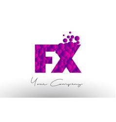 Fx f x dots letter logo with purple bubbles vector