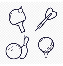 games linear icons ping-pong golf bowling darts vector image