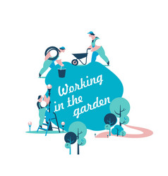 gardeners work in the garden vector image