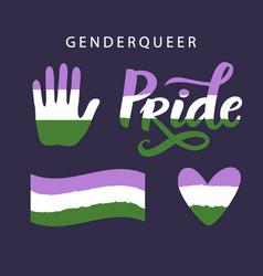 Gender queer pride symbols lgbt rights concept vector