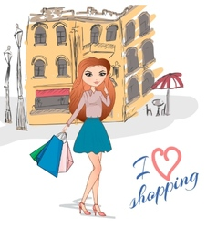 Girl with shopping bags on the street vector image